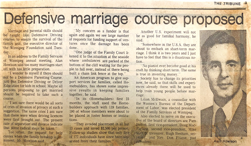 Tribune article from March 23, 1977 promoting marriage course