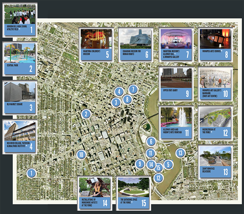Map of downtown Winnipeg with 15 markers locating some of the Downtown Green Spaces projects